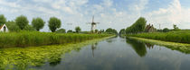 Traditional windmill along with a canal, Damme, Belgium by Panoramic Images