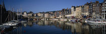 Boats docked at a harbor, Honfleur, Normandy, France by Panoramic Images