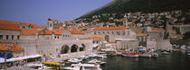 High angle view of boats at a port, Old port, Dubrovnik, Croatia by Panoramic Images