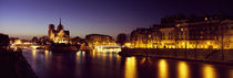 Buildings lit up at night, Notre Dame, Seine River, Paris, Ile-De-France, France by Panoramic Images