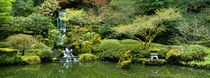 Waterfall in a garden, Japanese Garden, Washington Park, Portland, Oregon, USA by Panoramic Images