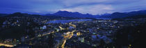 Aerial view of a city at dusk, Lucerne, Switzerland von Panoramic Images