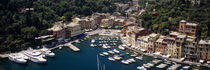 High angle view of boats docked at a harbor, Italian Riviera, Portofino, Italy von Panoramic Images