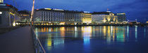 Buildings lit up at night, Geneva, Switzerland by Panoramic Images