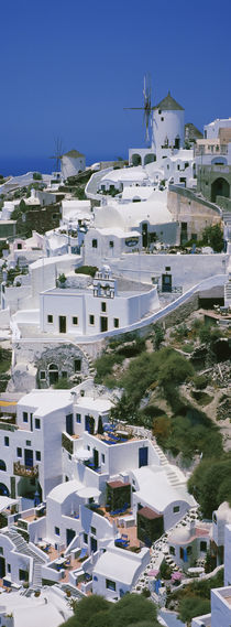 High angle view of a town, Oia, Santorini, Cyclades Islands, Greece by Panoramic Images