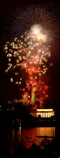 USA, Washington DC, Fireworks over Lincoln Memorial by Panoramic Images
