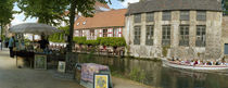 Flea market at a canal, Dijver Canal, Bruges, West Flanders, Belgium by Panoramic Images