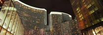 Skyscrapers lit up at night, Citycenter, The Strip, Las Vegas, Nevada, USA by Panoramic Images