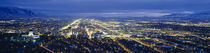 Aerial view of a city lit up at dusk, Salt Lake City, Utah, USA by Panoramic Images