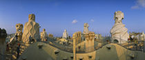 Chimneys on the roof of a building, Casa Mila, Barcelona, Catalonia, Spain von Panoramic Images