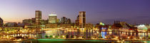 USA, Maryland, Baltimore, City at night viewed from Federal Hill Park by Panoramic Images