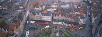Aerial view of a town square, Bruges, Belgium by Panoramic Images