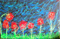 roses dripped over black on a rainy day by Raul Raziel