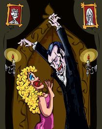Cartoon Dracula threatening a blonde woman by Anton  Brand