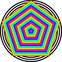 rainbow pentagon in circles by Chandler Klebs
