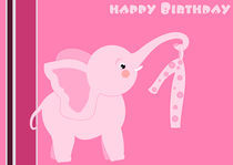 1st Birthday - little pink elephant  by deboracilli