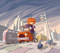Jack O' Lantern and his orange car. von Oleksiy Tsuper