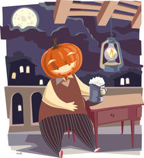 Jack O' Lantern with a pint of beer.  by Oleksiy Tsuper