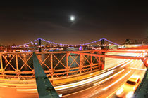 New York - Brooklyn Bridge - 04 - Night Shot Full Moon von temponaut
