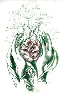 rose and hands leave two color by Nicole Schmidt