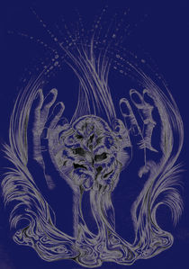 rose and hands blue by Nicole Schmidt