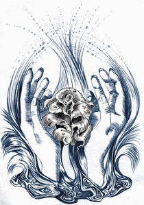 hands and rose  water two color by Nicole Schmidt