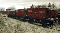 Red Coal Waggons by Steven Stoddart