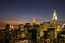 Manhattan Skyline - New York - Dawn / Dämmerung 03 - 3x2 NYC Twilight, Aerial, New York City, New York State, USA by temponaut