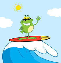 Happy Frog While Surfing In Sea  by hittoon