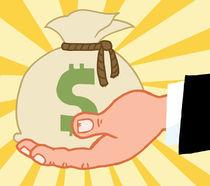 Bussines Hand Holding Money Bag von hittoon