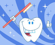 Cartoon Smiling Tooth With Toothbrush  von hittoon