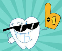 Smiling Tooth Cartoon Mascot Character Number One von hittoon