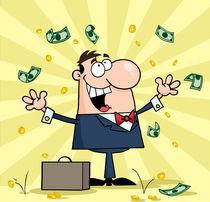 Successful White Businessman Standing Under Falling Money von hittoon