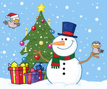 Friendly Snowman With A Cute Birds And Christmas Tree  von hittoon