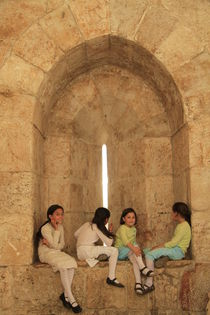 Israel, Jerusalem Old City, children at Jaffa Gate by Hanan Isachar