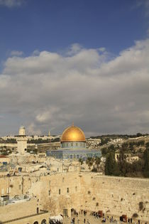 Jerusalem Old City, a view of the Western Wall and the Dome of the Rock by Hanan Isachar
