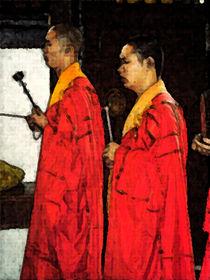 Mönche im Siling-Tempel in Shanghai von Hermann Bauer
