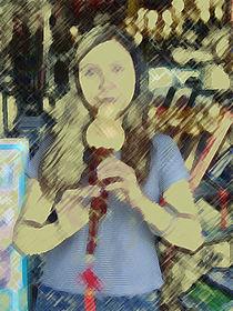 Flötenspielerin in Kunming von Hermann Bauer