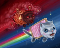 Nyan Cat (Pop Tart Cat) vs. Tac Nayn (Waffle Cat) by J.R.  Barker