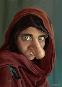 Afghan girl caricature by Eder Galdino