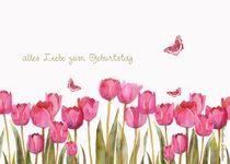 alles liebe zum geburtstag, rosa tulpen und schmetterlinge by barbara schreiber
