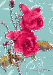 rote rosen auf turkisen hintergrund by barbara schreiber