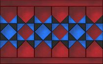 red blue black quilt tiles by Linda Carlile
