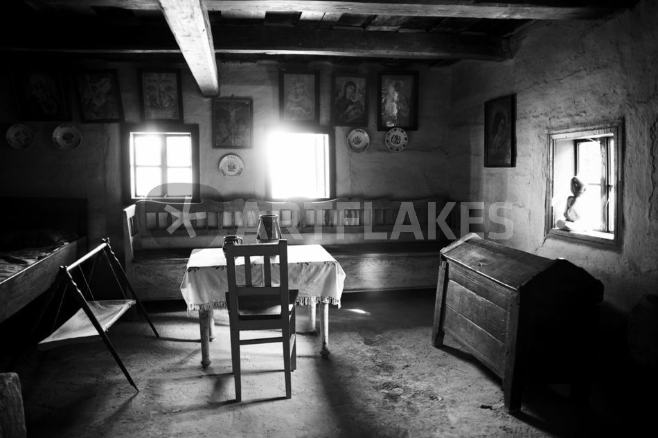 Old Slovakian 19th Century House Black White