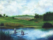 Geese in Flight Over Pond by Julie Ann Stricklin  von Julie Ann  Stricklin
