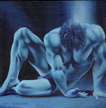 Blue Male Nude by Julie Ann Stricklin by Julie Ann  Stricklin