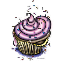 Whimsical Cartoon Cupcake by Julie Ann Stricklin by Julie Ann  Stricklin