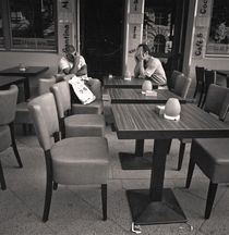two men and tables: Berlin by Ron Greer