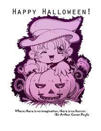 Witch Girl with Pumpkin von ladygeneziz