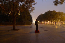 On Duty at Sunset, Tiananmen Square. by John Brooks